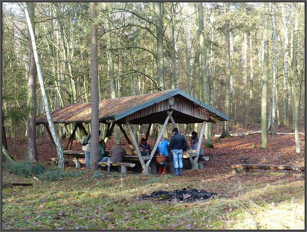 Ein Unterstand mit Sitzgelegenheit, den sich die Jägerschaft hier offensichtlich eingerichtet hat, lädt zum Picknick ein.